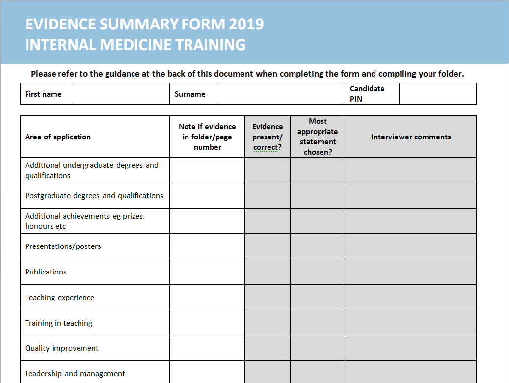 Evidence summary form 2019